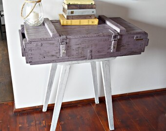 Rustic style Wood Industrial Console end Table Old Army military Chest Trunk Box Shabby  cottage loft WHITE BLUE PURPLE