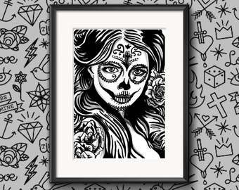 Signed 'Day Of The Dead Girl Three' Limited A4 Print