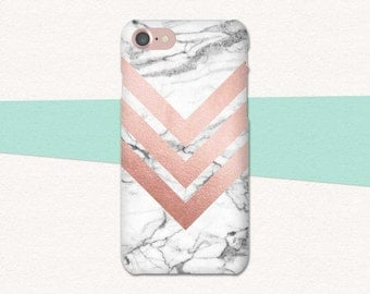 Rose Gold Phone Case, Chevron Phone Case, Marble Phone Case, Marble iPhone 6S Case, iPhone Case Rose Gold Marble, iPhone 6 6S Plus, SE Pink