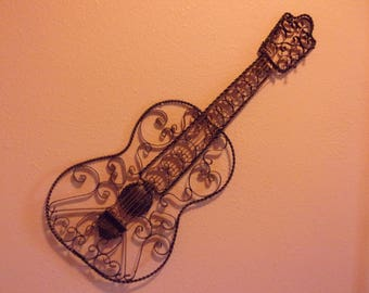 1960's Wrought Iron Guitar Wall Hanging