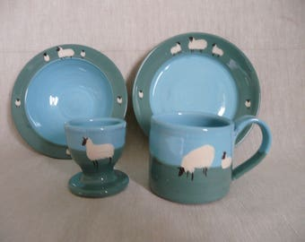 Nursery set  Childs breakfast set  Handmade and painted pottery  Ideal Christening or birthday gift  Can be personalised.