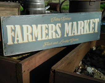 """Distressed Primitive Country Wood Sign - Your Name Farmers Market 5.5"""" x 19"""""""