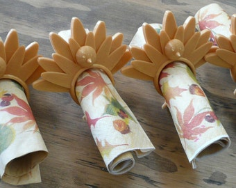 Set of 4 pieces Thanksgiving Turkey holiday napkin ring holder rings 3D printed - Made in USA
