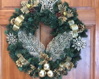 Christmas Wreaths, Gold and Pine Wreaths, Front Door Wreaths, Holiday Wreaths, Wreaths, Pine Wreaths,