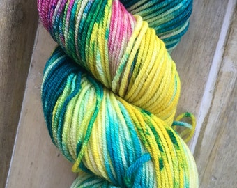 Hand Dyed Yarn | Worsted Weight Yarn | Superwash Merino Wool Yarn - Yellow - Green - Pink - Booty Bay