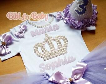 Princess Birthday Tutu Set, 1st Birthday Tutu Outfit , Birthday Tutu Set , First Birthday Tutu Outfit, second Birthday Outfit, Crown