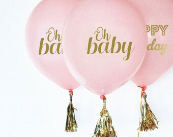 Baby Shower Balloons, Gender Reveal Balloons, oh baby, oh baby gender reveal, gold baby shower, oh baby balloons,