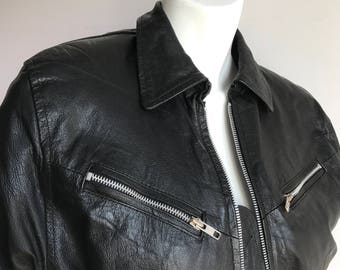 Buffy the Vampire Slayer's Unbranded S-M Black Genuine Leather Bomber Jacket Coat 80's glam Rock 90's