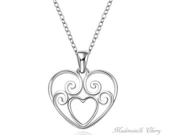 Valentine's day heart silver necklace, Bridal vintage heart silver necklace, scrollwork bridal necklace, heart wedding jewelry, volutes