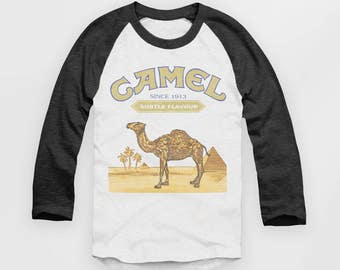 Camel Cigarettes - Vintage Look Baseball Jersey - Raglan Top - T Shirt  - S M L XL