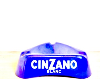 French old ashtray CINZANO blue bar bistro Vintage french blue ash tray aperitif alcohol cigarette smoke smoking