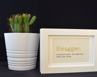 Urban Dictionary Wall Art / Swagger Definition / Dictionary Art / Funny Definition / Word Art