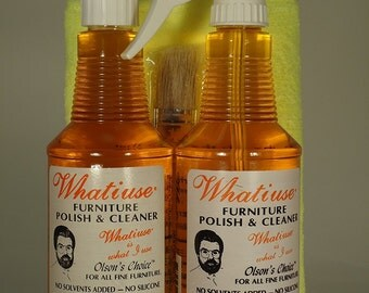 Whatiuse Orange Oil Furniture Polish With Microfiber Cloth, Pump and Brush  All Natural