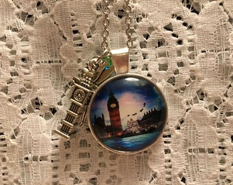 Peter Pan Glass Pendant Charm Necklace/Neverland Charm Necklace