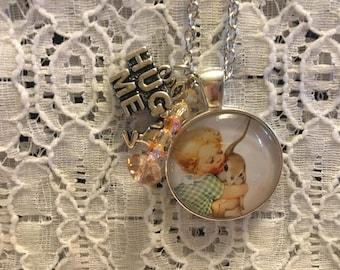 Hug Me Charm Necklace/Little Girl Necklace/Little Girl Pendant/Little Girl Pendant/Hug Necklace/Hug Pendant/Hug Me Jewelry
