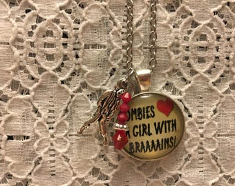 Zombies Love Girls With Brains charm necklace/Zombie Jewelry/Zombie Necklace/Zombie Pendant/Zombie Charms