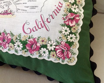 Vintage State Hankie Pillow - CA Dreamin'