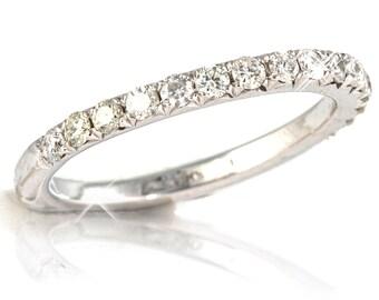 wedding band ring, 14k white band ring,