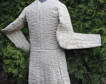 SALE! 10% discount (was 267USD is 240USD) Completely handsewn medieval gambeson. Medieval reenactment 14th century, 15th century replica
