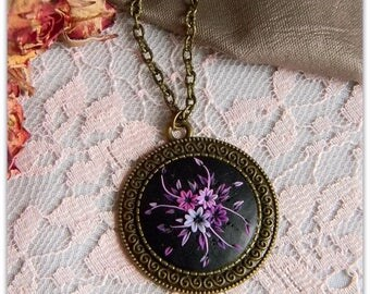 Pendant bronze pendant in the style of filigree. Vintage filigree made from polymer clay.