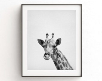 Giraffe print black and white animal print giraffe wall art nursery print printable nursery decor safari digital download minimalist