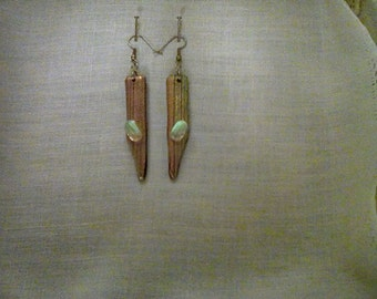 Stunning copper, gold and turquoise stripped dichroic glass earrings