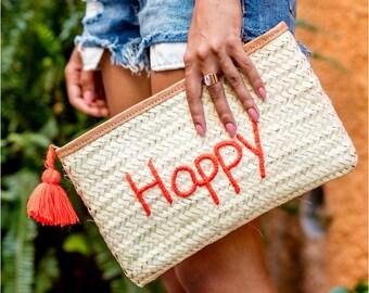 HAPPY straw clutch
