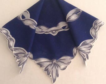 Vintage Handkerchief / Navy Blue With Ribbons