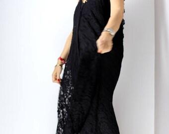 Black lace dress with detachable hood