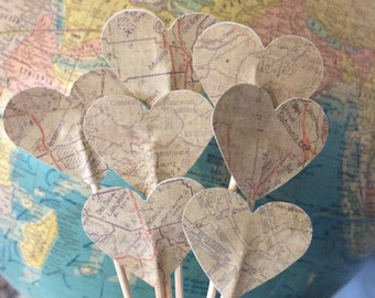 Vintage Map Cupcake Toppers, heart cupcake toppers, atlas wedding, map cupcake toppers, wedding cupcake toppers