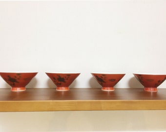 rice bowl set of 4  Japanese vintage 1970's  orange and gold
