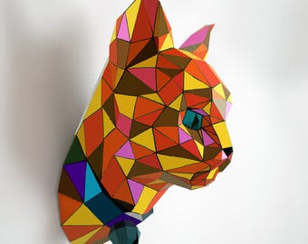 Cat model paper statue | DIY wall mount | 3D papercraft sculpture | Printable PDF pattern & origami kit | Low poly papercrafting