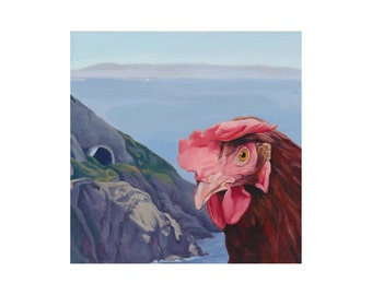 Chicken Print, Chicken Art, Bray, View of Howth, Irish Landscape, 8x8 Print