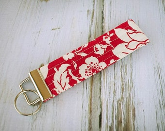 Quilted Fabric Key Fob, Key Chain, Key Holder -  Red and White Floral