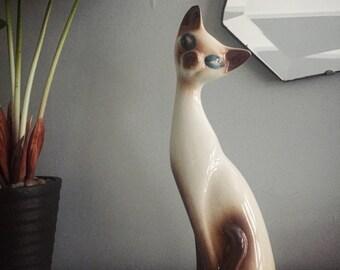 1940s Vintage Porcelain Siamese Cat