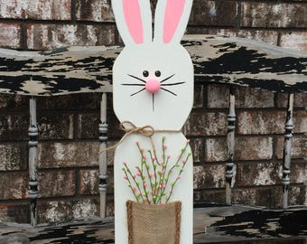 Wooden Bunny, Easter Bunny, White Wooden Bunny Stand