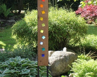 Garden sculpture, wood and glass