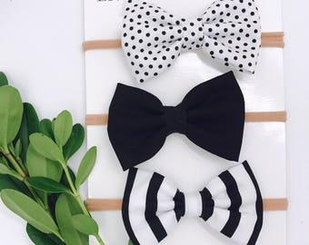 Baby Girl Bow headband set of 3 - nylon - infant / toddler / child bows - white polka dots - black - black/white stripe
