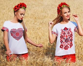 Blouse print pattern ornament ethnic style short sleeve