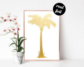 Palm Tree Foil Print - Wall Art, Wall Print, Home Decor, Gold Print, Foiled Print, Shiny Print
