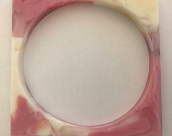 Resin Square Bangle - Strawberries and Cream