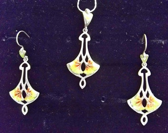Sterling silver Enamel Art Nouveau Pendant and Earrings