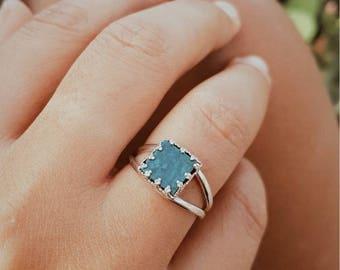 Eilat stone vintage silver ring