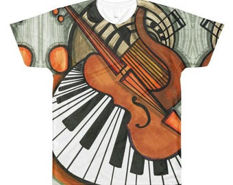 Music Lovers Piano & Violin Both Sides All Over Print T-shirt