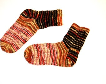 hand knitted 100% pure natural sheep wool striped socks