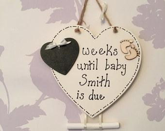 NEW BABY COUNTDOWN  plaque birth pregnant pregnancy chalk board blackboard