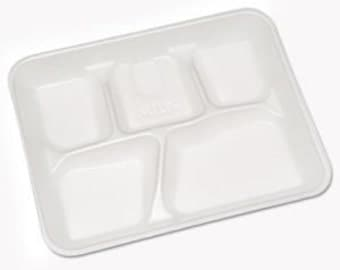 Foam 5 Compartment Lunch Tray (Qty 25)