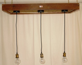 Brass Pendant lights on recycled timber pelmet D.I.Y Install