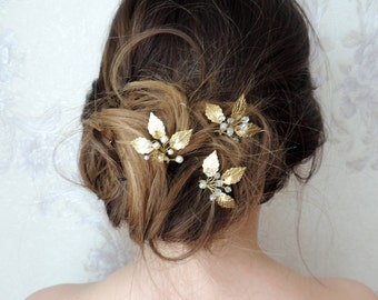 Gold Leaf Hair Pins Bridal Hair Pin  Crystal Hair pin Gold Small Wedding Hair Combs Gold Leaf Hair Pins  Bridal Hairpiece leaf bobby pins