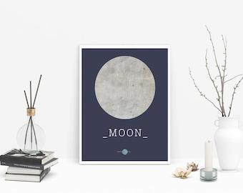Moon Print -Moon Wall - Moon Art - Moon Art Print - Concrete Art print - Circle Print - Moon Concrete - Moon Lamina Descargable